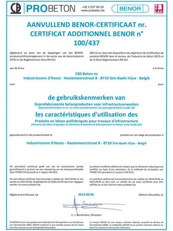 BENOR 100-437 gebruikskenmerken van geprefabriceerde betonproducten voor infrastructuurwerken