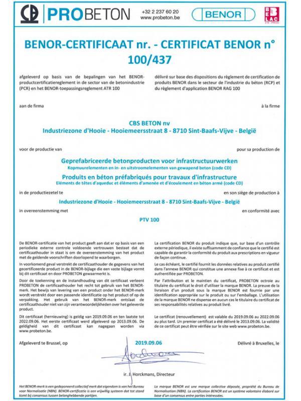BENOR 100-437 geprefabriceerde betonproducten voor infrastructuurwerken