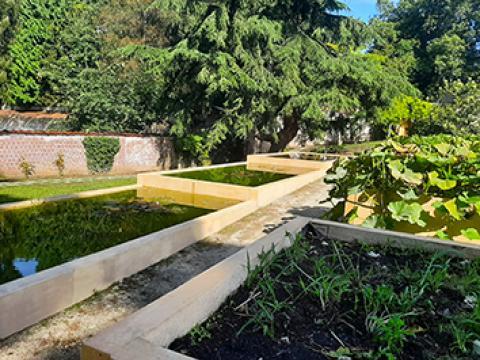 Cbs Beton, Bloembakken, plantentuin, betonwanden, Wielsbeke, infra, tuinaanleg, keerwanden